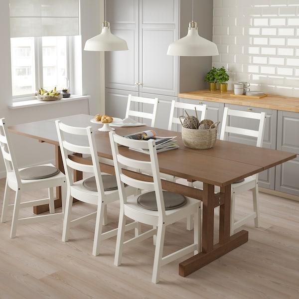 KLIMPFJÄLL / NORDVIKEN Mesa y 6 sillas, marrón grisáceo/blanco, 240x95 cm