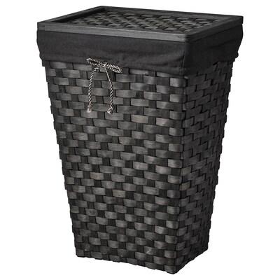 KNARRA Cesto de ropa forrado, negro/marrón