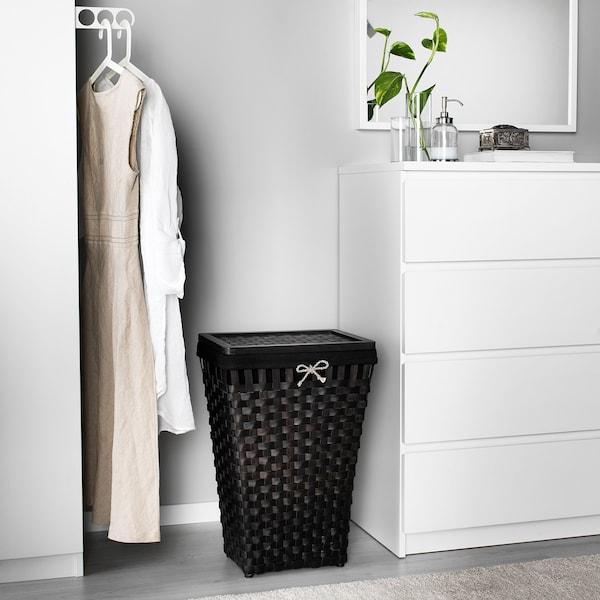 KNARRA Cesto de ropa forrado, negro, marrón IKEA