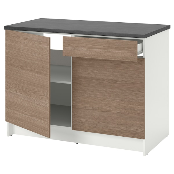 Armario bajo con puertas y cajón KNOXHULT efecto madera, gris