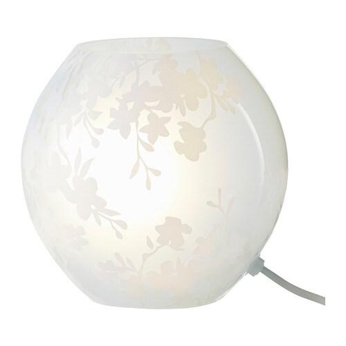 Lámpara de mesa, flores de cerezo blanco