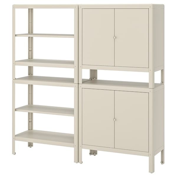 KOLBJÖRN Estantería con 2 armarios, beige, 171x37 cm