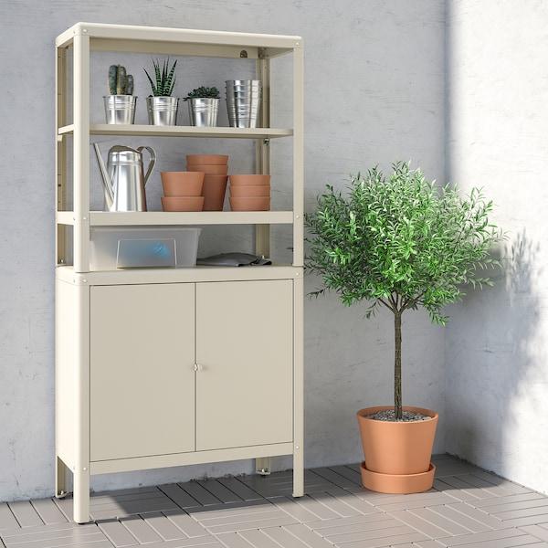 KOLBJÖRN Estantería con armario, beige, 80x37x161 cm