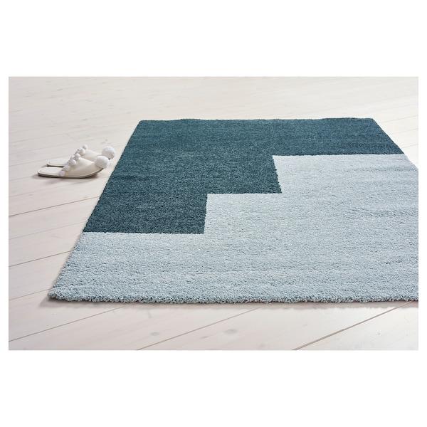 KONGSTRUP Alfombra, pelo largo, azul claro/verde, 133x195 cm