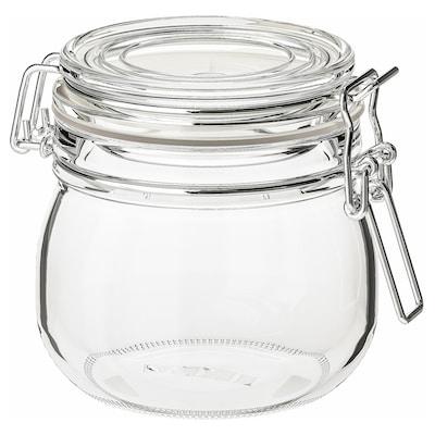 KORKEN Bote con tapa, vidrio incoloro, 0.5 l
