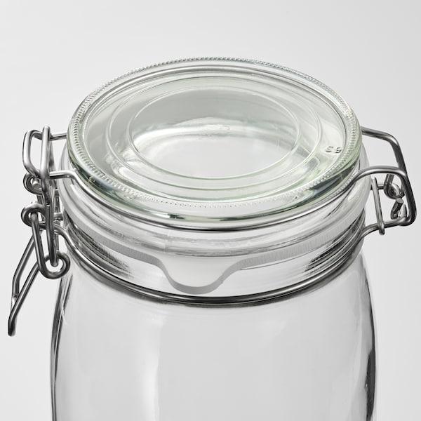 KORKEN Bote con tapa, vidrio incoloro, 2 l