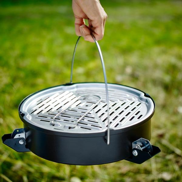 KORPÖN Barbacoa carbón portátil, negro