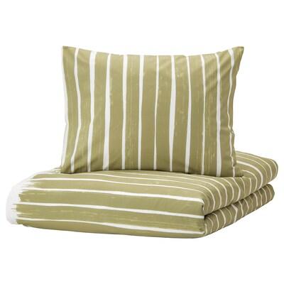 KRANSRAMS Funda nórdica y 2 fundas almohada, blanco/verde, 240x220/50x60 cm
