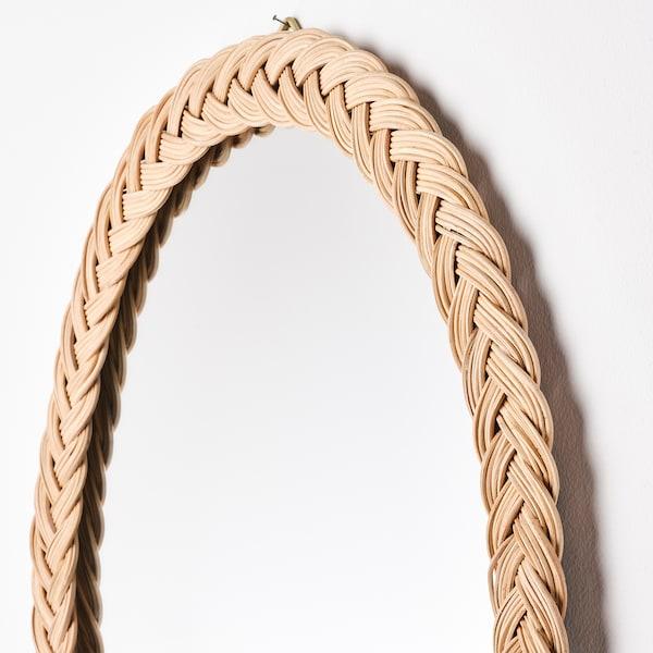 KRISTINELUND Espejo, ratán, 61x50 cm