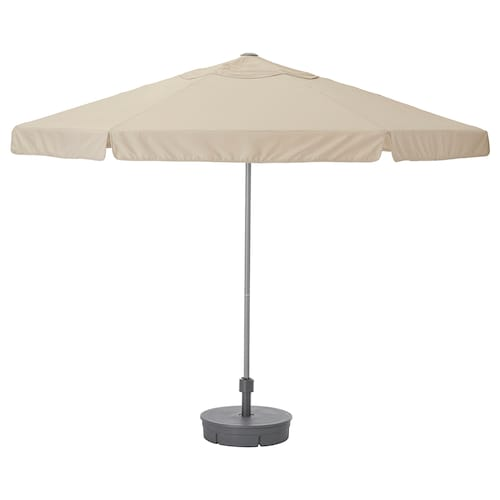 KUGGÖ / VÅRHOLMEN sombrilla con soporte gris beige/Grytö gris oscuro 250 g/m² 246 cm 300 cm 38 mm
