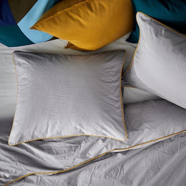 KUNGSBLOMMA Funda nórdica y 2 fundas almohada, gris/amarillo, 240x220/50x60 cm