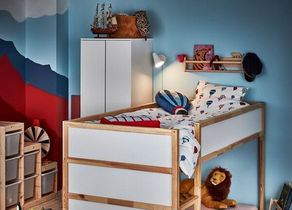 KURA cama reversible blanco/pino 209 cm 99 cm 116 cm 83 cm 100 kg 200 cm 90 cm 12 cm