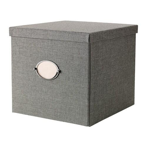 Caja con tapa, gris - IKEA