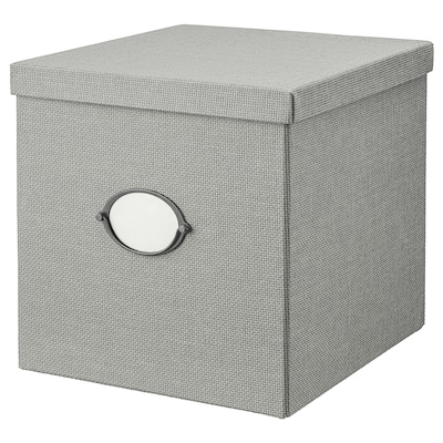 KVARNVIK Caja con tapa, gris, 32x35x32 cm