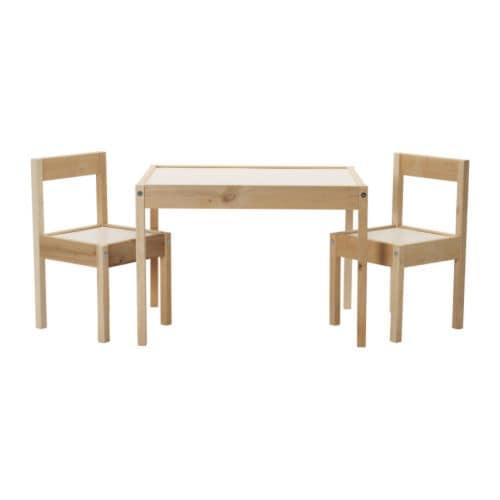 LÄTT Mesa para niños con 2 sillas Blanco/pino - IKEA
