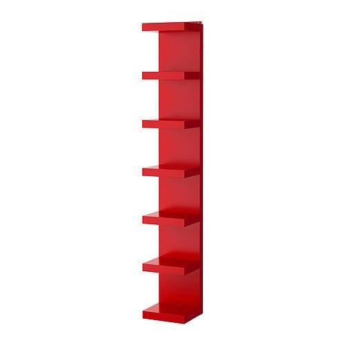Lack estanter a de pared rojo ikea for Estanterias estrechas ikea