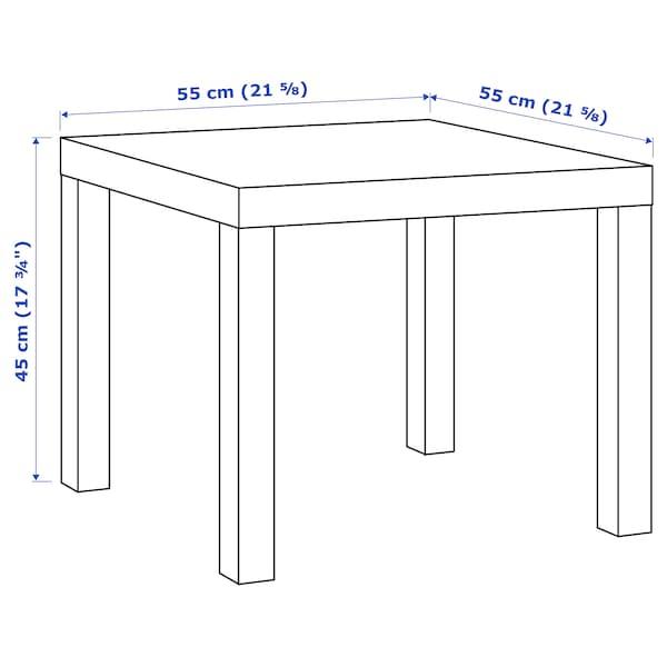 LACK Mesa auxiliar, efecto roble tinte blanco, 55x55 cm