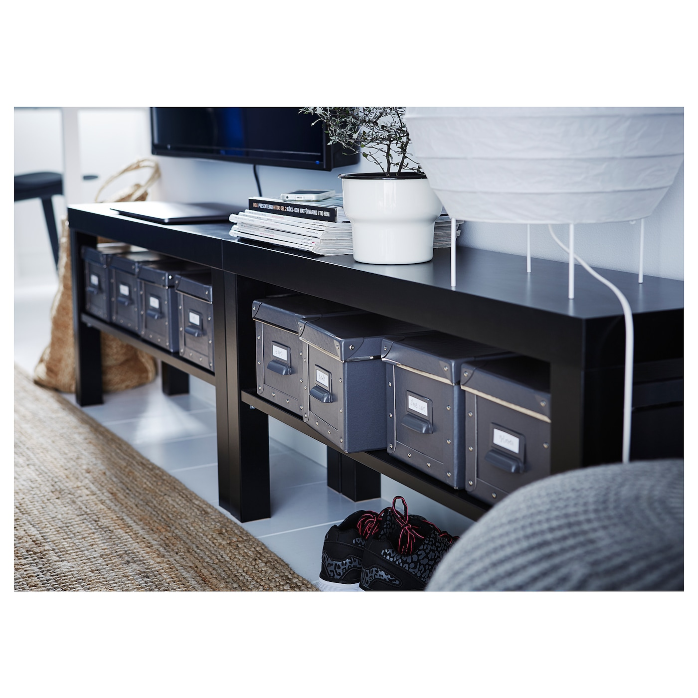 LACK Mueble TV negro 90x26x45 cm
