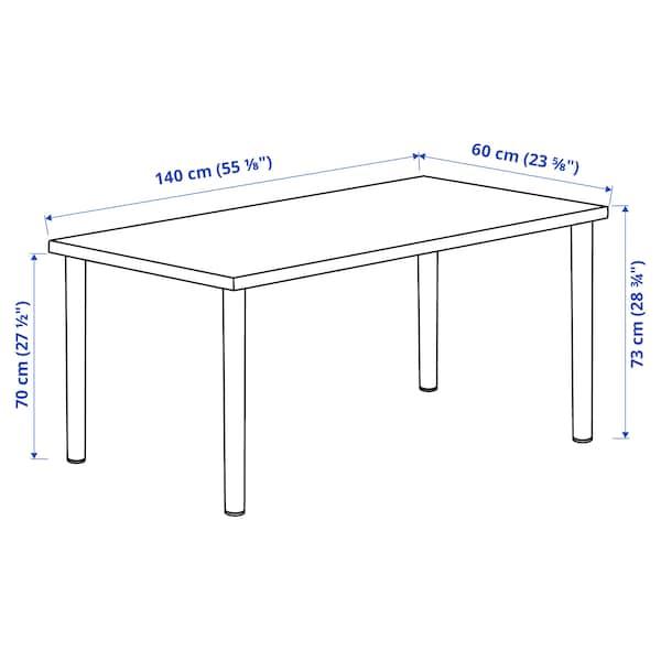 LAGKAPTEN / ADILS Escritorio, efecto roble tinte blanco/blanco, 140x60 cm