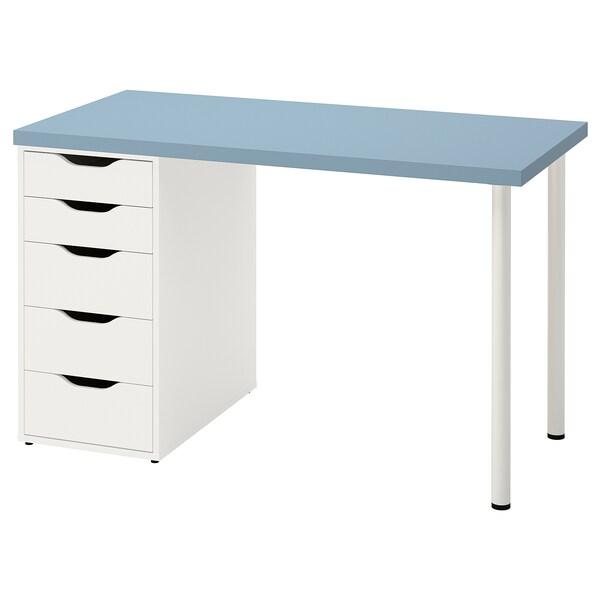 LAGKAPTEN / ALEX Escritorio, azul claro/blanco, 120x60 cm