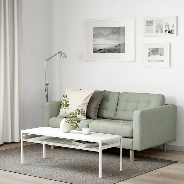 LANDSKRONA sofá 2 plazas Gunnared verde claro/madera 164 cm 89 cm 78 cm 64 cm 140 cm 61 cm 44 cm