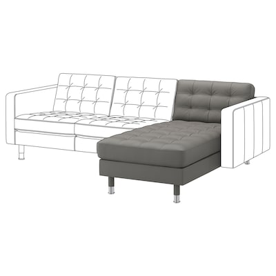 LANDSKRONA Chaiselongue, módulo adicional, Grann/Bomstad verde gris/metal
