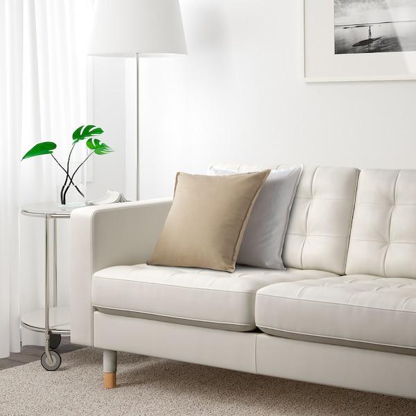 LANDSKRONA Sofá 3 plazas, +chaiselongue/Grann/Bomstad blanco/madera