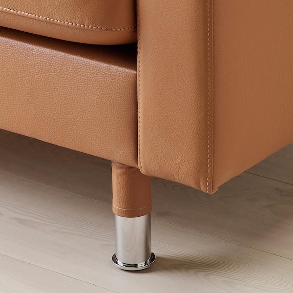 LANDSKRONA Sofá de 3 plazas, Grann/Bomstad marrón dorado/metal