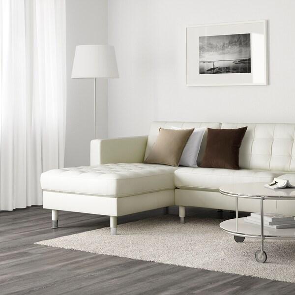 LANDSKRONA Sofá 5 plazas, con chaiselongues/Grann/Bomstad blanco/metal