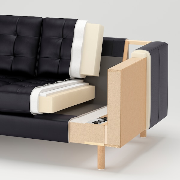 LANDSKRONA Sofá 5 plazas, con chaiselongues/Grann/Bomstad negro/madera