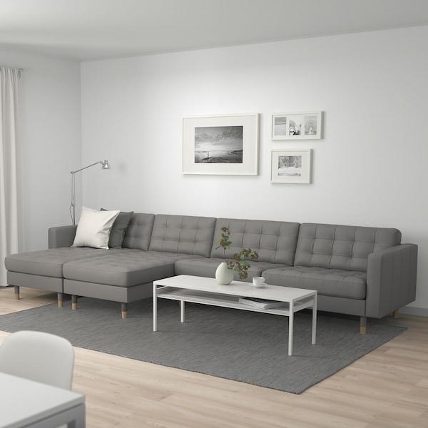 LANDSKRONA Sofá 5 plazas, con chaiselongues/Grann/Bomstad verde gris/madera