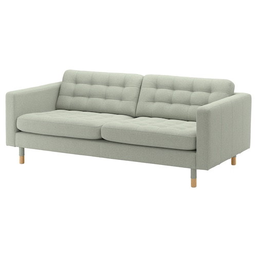 LANDSKRONA sofá 3 plazas Gunnared verde claro/madera 204 cm 89 cm 78 cm 64 cm 180 cm 61 cm 44 cm