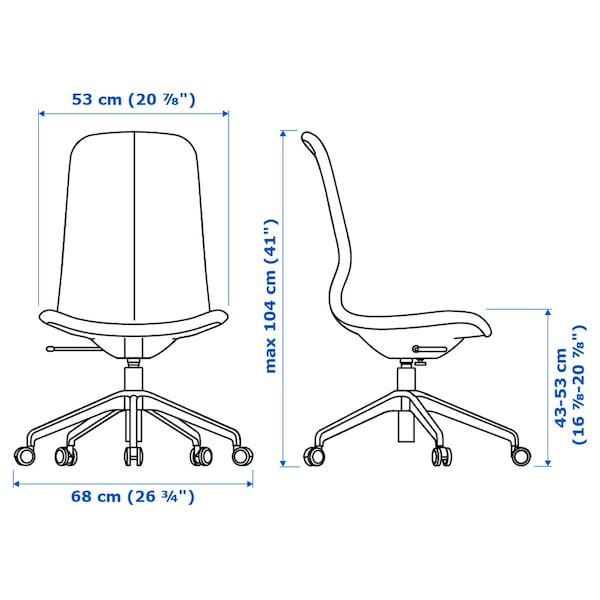 LÅNGFJÄLL silla de trabajo Gunnared beige/blanco 110 kg 68 cm 68 cm 104 cm 53 cm 41 cm 43 cm 53 cm