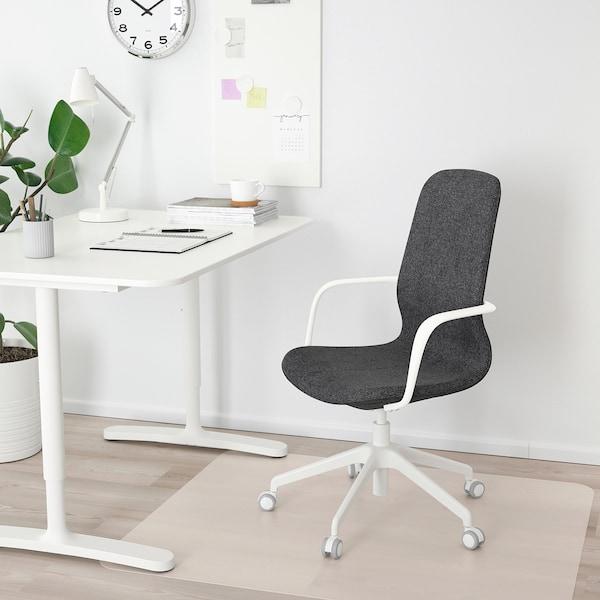 LÅNGFJÄLL Silla de trabajo con reposabrazos, Gunnared gris oscuro/blanco