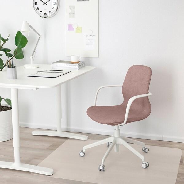 LÅNGFJÄLL Silla de trabajo con reposabrazos, Gunnared marrón rosa claro/blanco