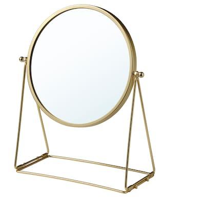 LASSBYN Espejo de mesa, dorado, 17 cm