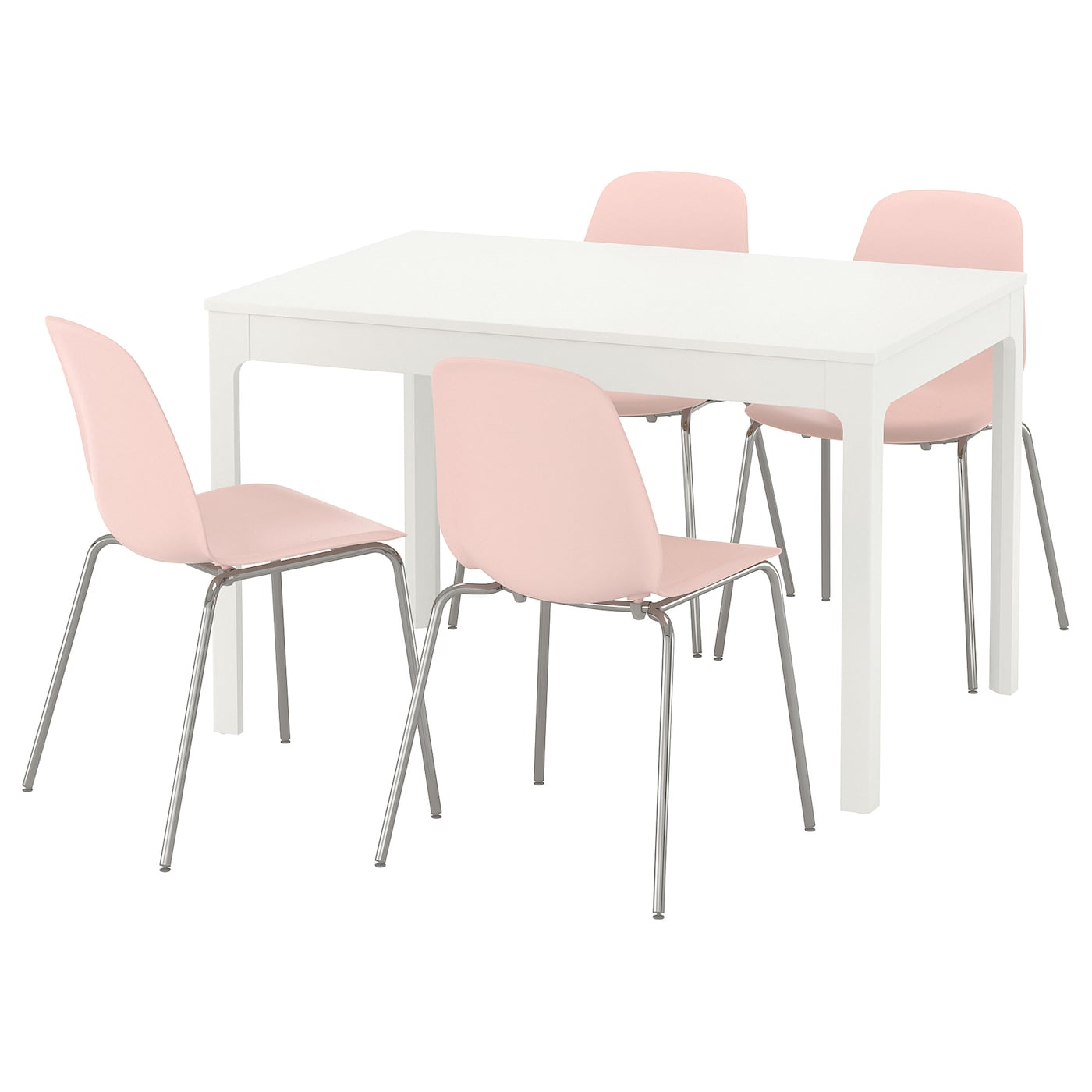 LEIFARNE/EKEDALEN Mesa con 4 sillas Blanco/rosa 120 cm - IKEA