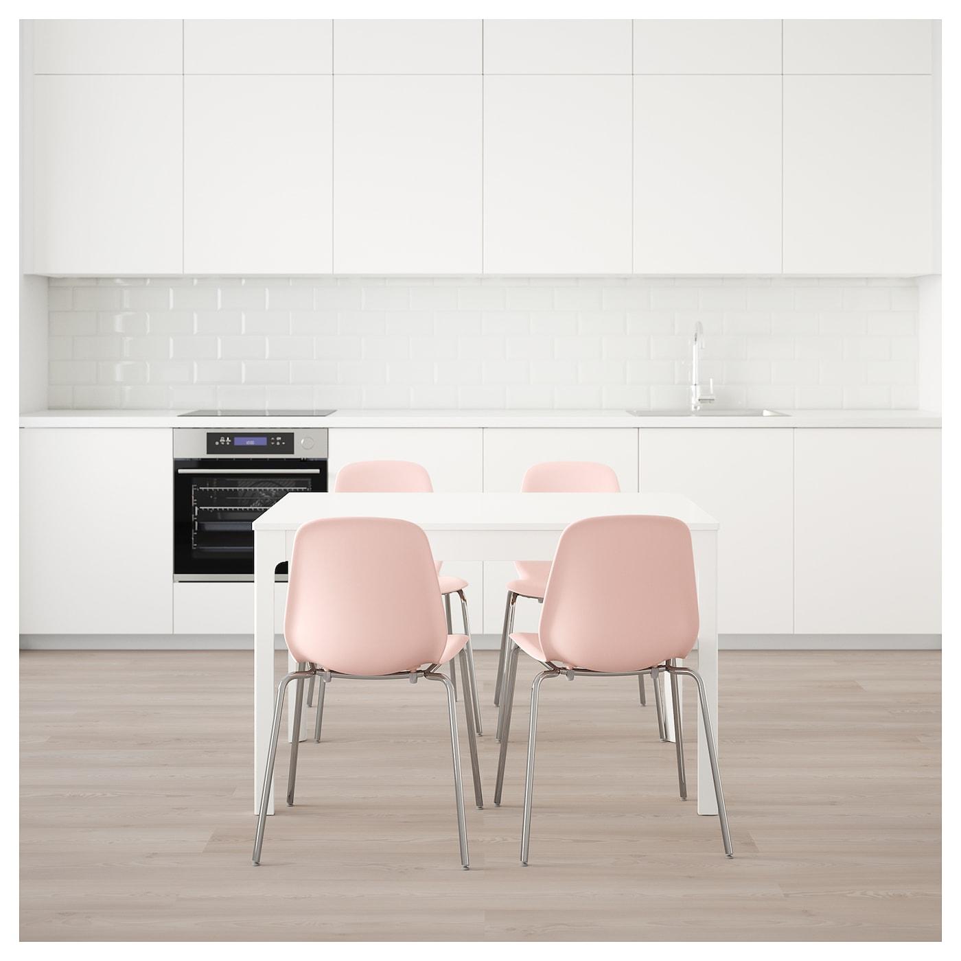 Leifarne ekedalen mesa con 4 sillas blanco rosa 120 cm ikea - Silla ekedalen ikea ...