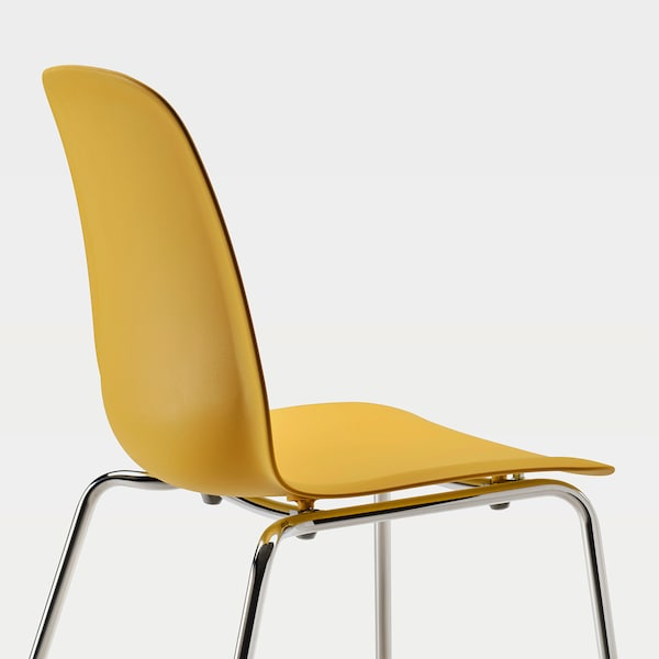 LEIFARNE Silla, amarillo oscuro/Broringe cromado
