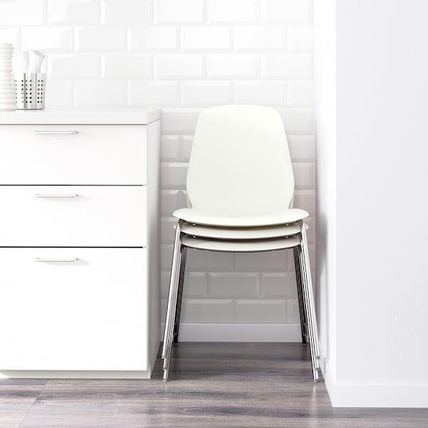 LEIFARNE Silla, blanco/Broringe cromado
