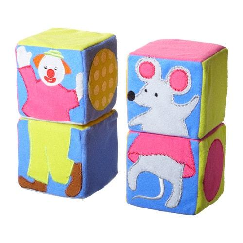 LEKA CIRKUS Cubos para armar IKEA Desarrolla las habilidades motrices y el pensamiento lógico. Estimula la vista y el tacto del bebé.
