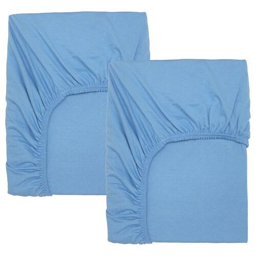 LEN sábana ajustable para cuna barr azul claro 120 cm 60 cm 2 unidades