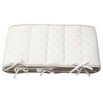 LENAST Protector de cuna / chichonera, lunares/blanco gris, 60x120 cm
