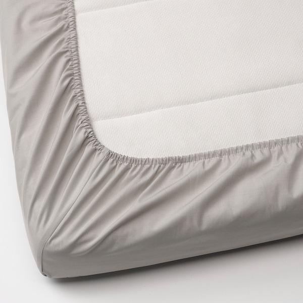 LENAST Sábana ajustable para cuna barr, blanco/gris, 60x120 cm