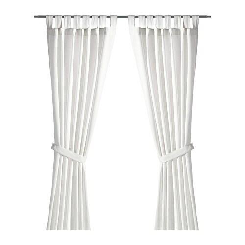 Oferta en IKEA Badalona - LENDA Cortinas & alzapaños, 1 par, blanco blanqueado