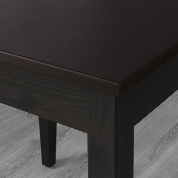 LERHAMN Mesa, negro-marrón, 118x74 cm