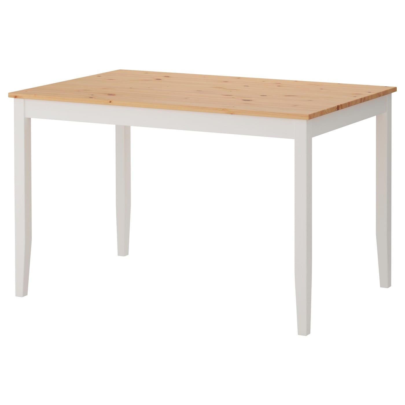 LERHAMN Mesa Tinte envejecido claro/tinte blanco 118 x 74 cm - IKEA