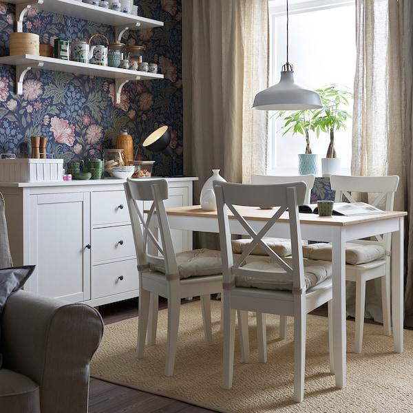 LERHAMN Mesa, tinte envejecido claro/tinte blanco, 118x74 cm