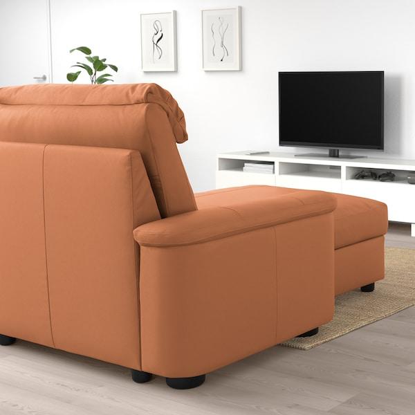 LIDHULT Sofá 3 plazas, +chaiselongue/Grann/Bomstad marrón dorado