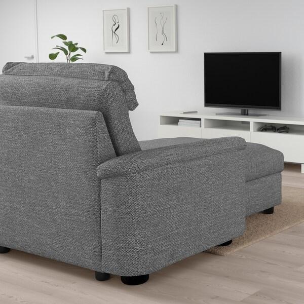 LIDHULT Sofá 3 plazas, +chaiselongue/Lejde gris/negro